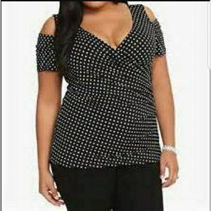 Torrid 3 Polka Dot Top, Plus Size, Women, Pin up S